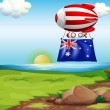 Stock Vector: Floating balloon with flag of Australia