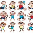 Monkeys with different emotions — Stock Vector