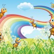 Bees at hilltop and rainbow in sky — Stock Vector #40935489