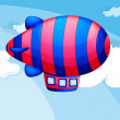 Постер, плакат: A stripe colored airship in the sky