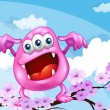 Pink beanie monster above branch of tree — Vector de stock #40935617