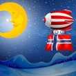 Stock Vector: Floating balloon with flag of Norway