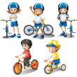 Kids with their bikes — Stock Vector #40935855