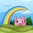 A castle at the hilltop with a rainbow in the sky — Stock Vector