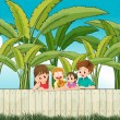 A sad mother with her family at the fence — Stock Vector