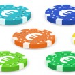 Colorful poker chips — Stock Vector