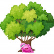 Pink monster resting under tree — Stock Vector #40936043
