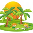 Two kids in the island reading near the coconut trees — Stock Vector #40936133