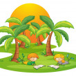Two kids in the island reading near the coconut trees — Stock Vector