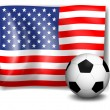 Stock Vector: Flag of Americwith soccer ball