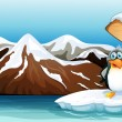 A penguin above the iceberg with an arrowboard — Vector de stock