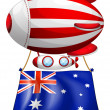 Stock Vector: Flag of Australiattached to floating balloon