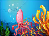 An octopus under the ocean — Stock Vector