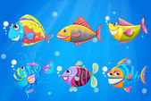 A group of colorful smiling fishes — Stock Vector
