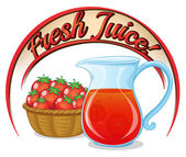 A fresh juice label with a basket of tomatoes and a pitcher of j — Stock Vector
