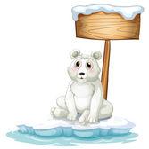 A sad bear above the iceberg with an empty signboard — Stock Vector