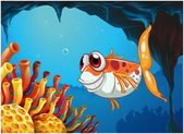A smiling fish under the sea inside the cave — Stock Vector
