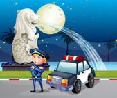 A policeman and his patrol car near the statue of Merlion — Stock Vector