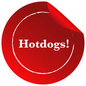 A red template with a hotdogs label — Stock Vector