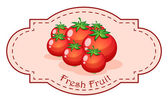 A fresh fruit label with fresh tomatoes — Stock Vector
