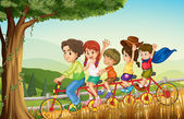A group of people biking — Stock Vector