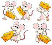 A group of mice carrying slices of cheese — Stock Vector