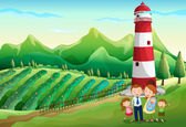 A family at the farm with a high tower — Stock Vector