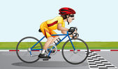 A biker near the finish lane — Stock Vector