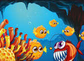 A group of puffer fishes and a scary piranha inside the cave — Stock Vector