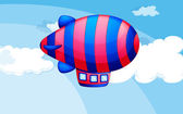A stripe-colored airship in the sky — Stock Vector
