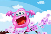 A pink beanie monster above the branch of a tree — 图库矢量图片