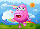 A happy pink monster dancing at the hilltop with a rainbow in th — Stock Vector