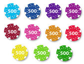 Eleven poker chips — Stock Vector