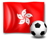 The flag of Hongkong and the soccer ball — Stock Vector