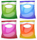 Four packs with empty labels — Stock Vector