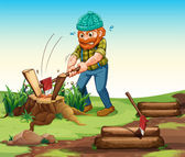 A lumberjack chopping woods — Stock Vector