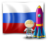 A Russian flag at the back of the rocket and the explorer — Stock Vector