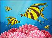 A group of stripe-colored fishes under the sea — Stock Vector