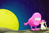 A pink beanie monster pacifying the cat in the outerspace — Stockvector