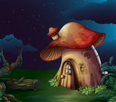 A big mushroom house at the forest — Stock Vector