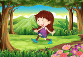 A young girl playing at the forest — Stock Vector