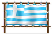 The flag of Greece attached to the wooden frame — Stock Vector