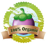 An organic label with an eggplant — Stock Vector