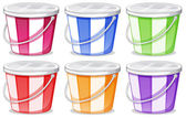 Six colorful pails — Stock Vector