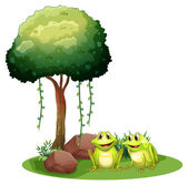 Two smiling frogs beside the tree — Stock Vector