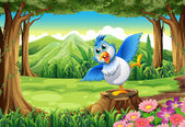 A blue bird above the stump at the forest — Stock Vector