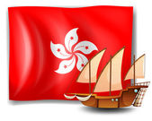 The flag of Hongkong with a ship — Stock Vector