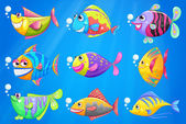 Nine colorful fishes under the sea — Stock Vector