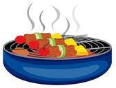 Barbeques cooked above the barbeque grill — Stock Vector