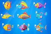 A group of beautiful fishes under the sea — Stock Vector